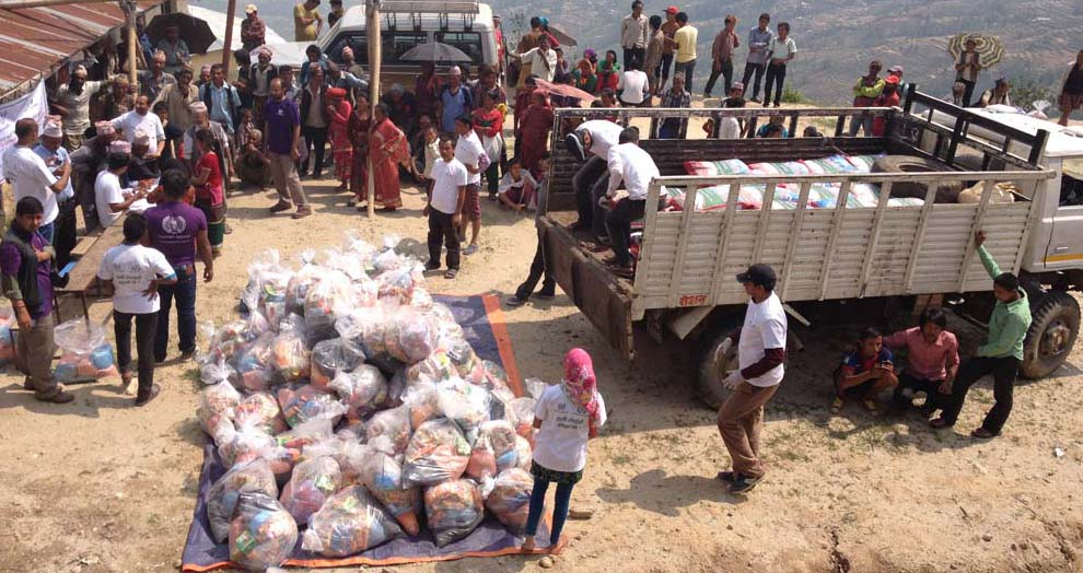 GoGo Relief Package Distribution to Quake Victims at Belkot VDC, Nuwakot District of Nepal