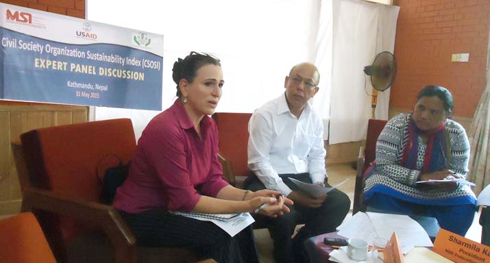 Maria Barron, Director, Democracy & Governance, USAID Speaking at the 'CSO Sustainability Index Score Exercise' organized by the GoGo Foundation on 31 May 2015