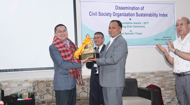 Hari Bahadur Thapa, receiving GoGo Foundation Award-2017
